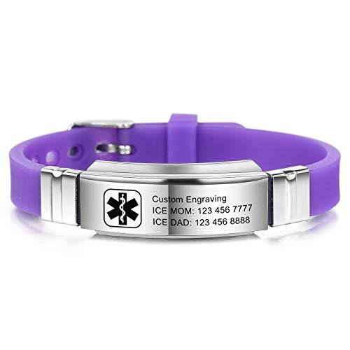 MOWOM Medical Bracelet Custom Engraved Silicone Adjustable Sport ID Identification Alert Stainless Steel - Bundle with Emergency Card, Holder (Purple,Custom Engraving