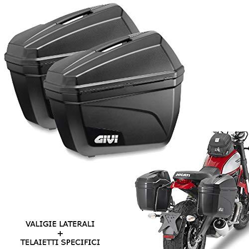 Par de maletas laterales negras E22 + bastidor específico PL8705 compatible con Benelli TRK 502 X 2018 2019 GIVI