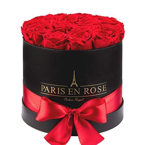 PARIS EN ROSE Rosenbox Palais-Royal Classic | 3 Jahre haltbar | Schwarze Rosenbox mit roten Infinity Rosen | Flowerbox mit 13-15 konservierten Blumen