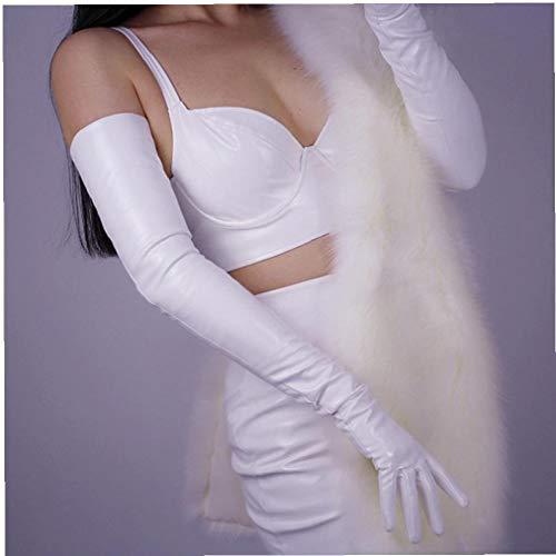 AYRSJCL Las Mujeres' Charol Guantes Largos de 70 cm de Largo Codo Simulación Cuero de la PU Guantes de Cuero Espejo de Piel Brillante Blanco Brillante TB73