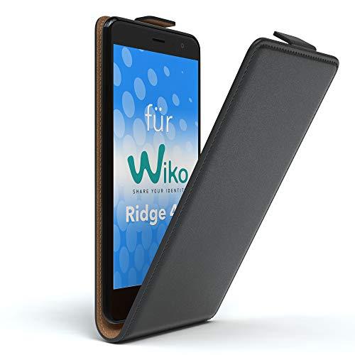 EAZY CASE WIKO Ridge 4G Hülle Flip Cover zum Aufklappen Handyhülle aufklappbar, Schutzhülle, Flipcover, Flipcase, Flipstyle Hülle vertikal klappbar, aus Kunstleder, Schwarz
