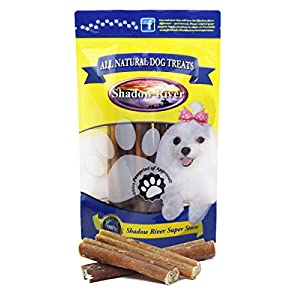 Shadow River Jumbo 6 Inch 100% Beef Bully Sticks for Large Dogs Extra Thick – Grass Fed Grain Free Chew Treats for Aggressive Power Chewers – Pack of 10 Sticks