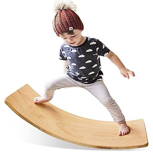 Tablero de balance de wobble de madera, tablero de balancín de 35 pulgadas, juguete de aprendizaje abierto abierto para niños y adultos, equilibrio entrenamiento y ejercicio de yoga en casa y aula