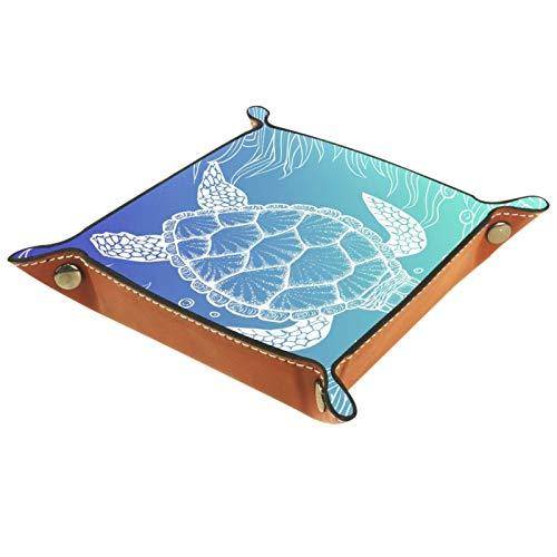TIKISMILE Bandeja de almacenamiento dibujada a mano de piel de tortuga marina para pintalabios, organizador de cosméticos, bandeja para el hogar, la oficina y el escritorio, placa cuadrada