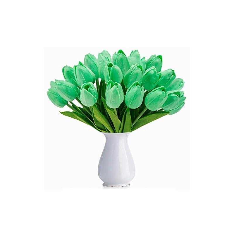 silk flower arrangements bomarolan artificial tulip fake holland mini tulip real touch flowers 24 pcs for wedding decor diy home party (green)