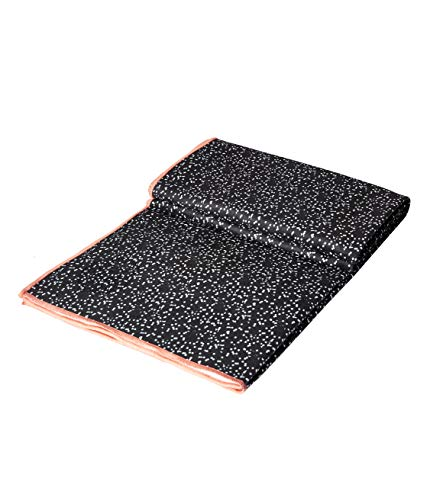 Manduka eQua Yoga Mat Towel, Non-Slip, Quick Drying Microfiber, Thin and Lightweight, Eco-Friendly. Great for Gym, Pilates, Outdoor Fitness, or Any Exercises (Black)