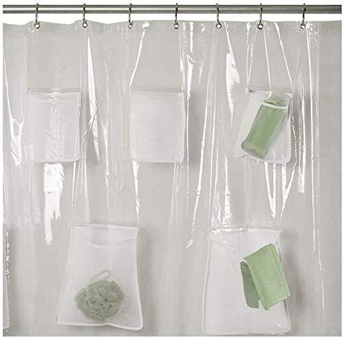 Venus valink Transparenter Duschvorhang, PVC, durchscheinend, mit Taschen, wasserdicht, Badezimmervorhänge, Baddekoration, Vorhang, Badteiler, Vorhang