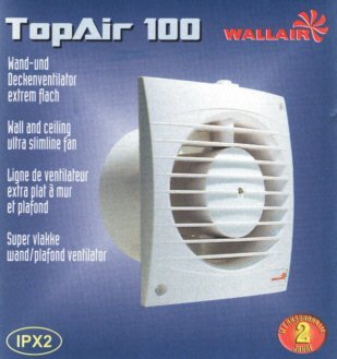 Lüfter Ventilator Top Air Timer Bad WC Küche 100 mm 90m³/h