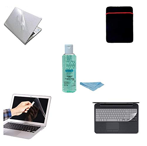 Fedus 5 in1 Combo of Transparent Laptop Skin with Key Guard, Screen Guard and Laptop Sleeve OR Laptop Cleaning Gell for 14.0 inches, Laptop Combo