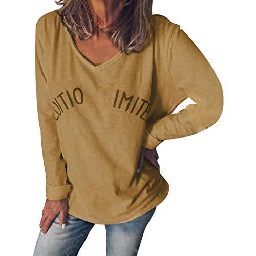 ANJUNIE Damen Pullover mit V-Ausschnitt und Buchstaben-Print - Blau - Groß