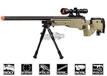 Well Full Metal MB08 Bolt Action Sniper Rifle  Tan/Scope Package