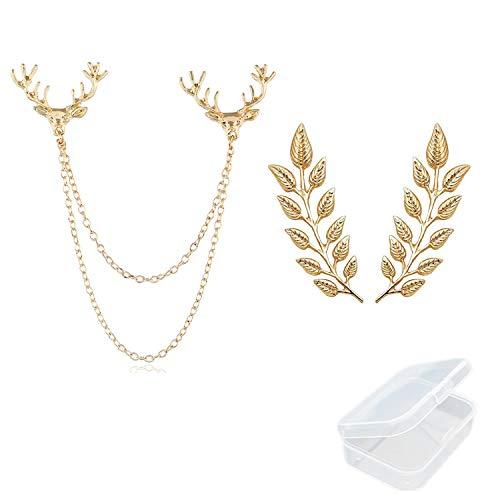 PPX 1 Stück Hirschkopf Doppel Gliederketten und 1 Paar elegante Gold Weizenblatt Anzug Clip Kragen Pin Brosche Unisex mit kostenlosen Aufbewahrungsbox