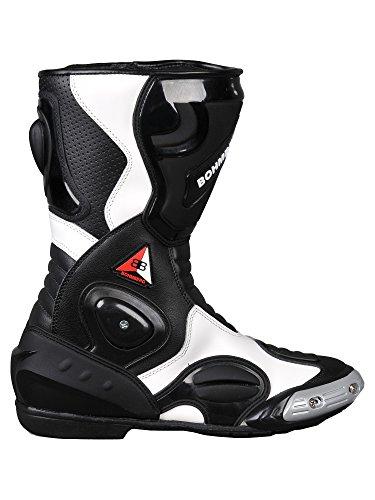 Bohmberg - Botas de Moto, Botas de Piel Deportivas, Impermeables, de Cuero Estable Protectores rígidos Integrados - 44