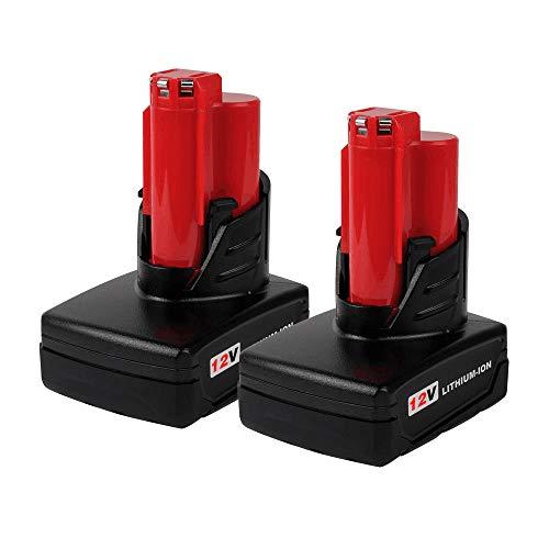 Paquete de 2 baterías M12 6.0 de capacidad extendida para herramientas eléctricas inalámbricas Milwaukee 12v 48-11-2460 48-11-2440 48-11-2402 48-11-2411