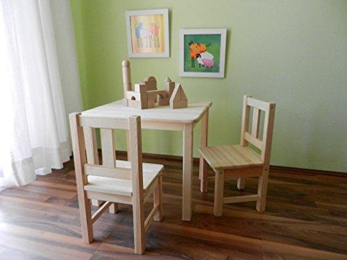 Best of JAM® Kindersitzgruppe ein Kindertisch und zwei Stühle MASSIVHOLZ UNBEHANDELT