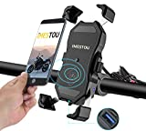Waterproof Motorcycle Phone Holder Wireless Charger and USB 3.0 Quick Charge Phone Mount 2 in 1 360 Rotation...
