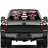 Funny Car Window Decal American Flag Truck Window Graphic Decals Back Chevy Avalanche Rear Skull Decals Sticker for Men 53x14inch