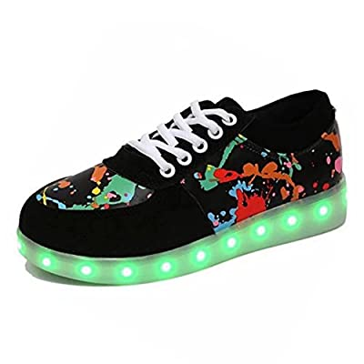 IGxx LED Light Up Shoes LED Sneakers with USB Charging Luminouns Glowing Shoes for Men Women Kids (Black 39 EU)