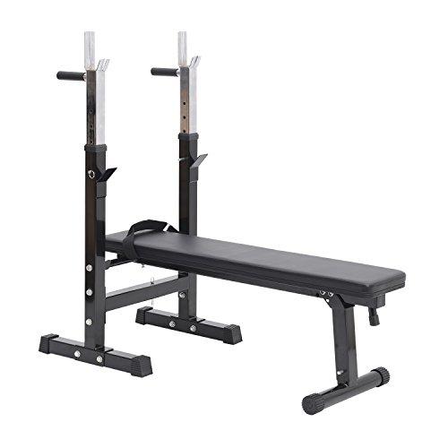 HOMCOM Banc de Musculation Fitness Pliable Entrainement Complet Dossier réglable poignées de poussée Acier renforcé Noir