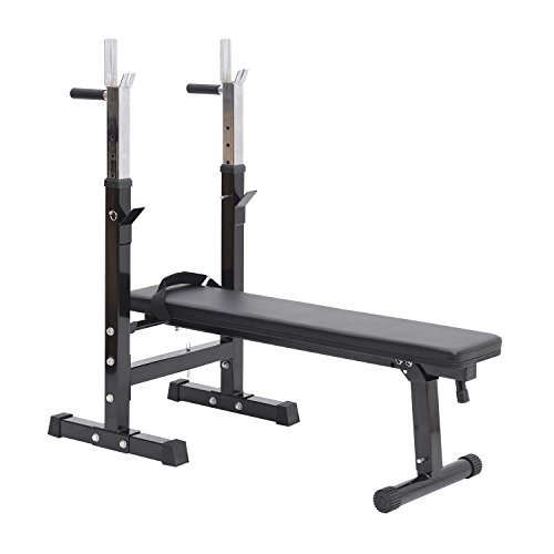 Banc de Musculation Fitness Pliable Entrainement Complet Dossier réglable poignées de poussée Acier renforcé Noir