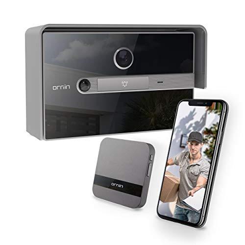 Ornin WiFi Video Doorbell | Kit videocitofono con Chime e trasformatore, video HD 1080p, rilevazione di movimento PIR, comunicazione bidirezionale, IP65 resistente alle intemperie. (Grigio)