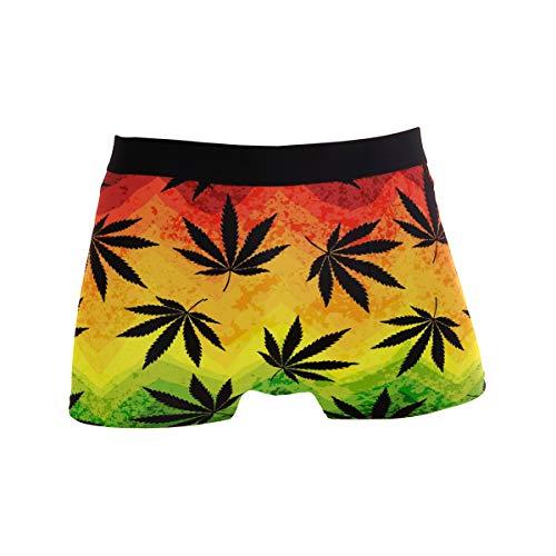 ALARGE Herren-Boxershorts, bunte Marihuana-Blätter, Hanf, kurze Unterwäsche, weiche Stretch-Unterhose für Männer, Jungen, S-XL Gr. L, multi