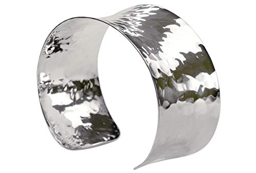 SILBERMOOS Damen Armreif Armspange gehämmert glänzend offen konkav massiv 925 Sterling Silber