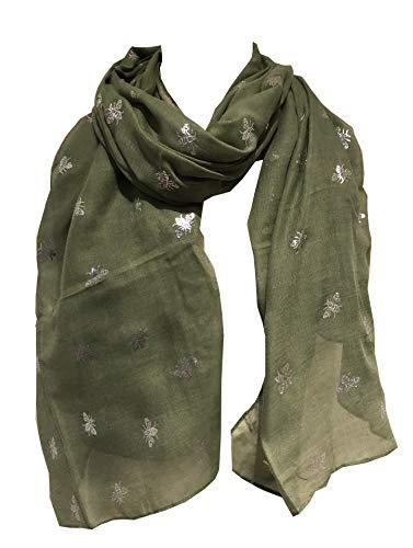Schal mit silberfarbenen Hummeln Langer Schal Tolles Geschenk für Bienenliebhaber Gr. One size, grün
