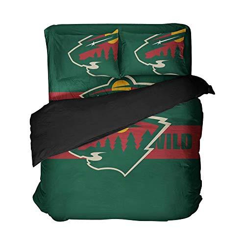 Winter Sports Bed Falt Sheet Set Minnesota Green Hockey Clear Graphic Quilt Cover Set for Boys(Full 4pcs)