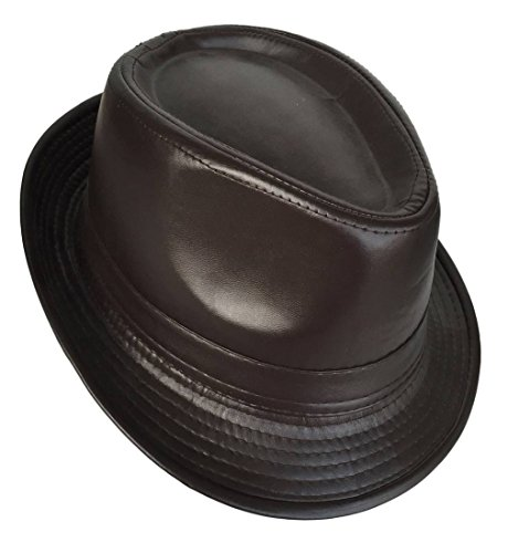 COMVIP Homme Chapeau en Cuir Vintage Jazz Fedora Trilby Western Vogue Marron