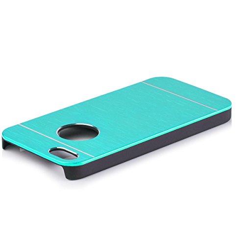 Apple iPhone SE / 5S / 5 | iCues Alu Caso spazzolato Turchese | [Protettore che include uno schermo] protettiva della pelle Metallizzato Metallo di alluminio di CNC di protezione Coperchio Coperchio Custodia Cover Case Tasca Borsa