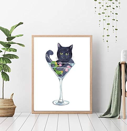 Cat drinking martini Painting glass Wall Watercolor Art Peperoni Print