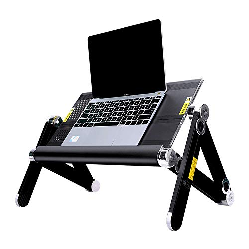WNN-T Foldable Laptop Table, Portable Laptop Bed Desk Adjustable Height with Cooling Board, Ergonomic Lap Desk TV Bed Tray Standing Desk 52x24.5cm,Black T