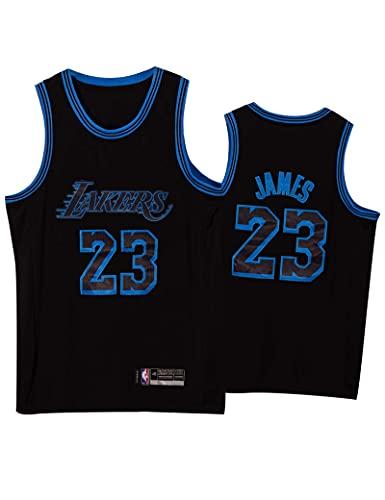 Kfdfns Camiseta para Hombre NBA Los Angeles Lakers # 23 Lebron James Retro Malla Bordada Ropa de Entrenamiento de Baloncesto Sudaderas Camiseta sin Mangas Transpirable Chaleco