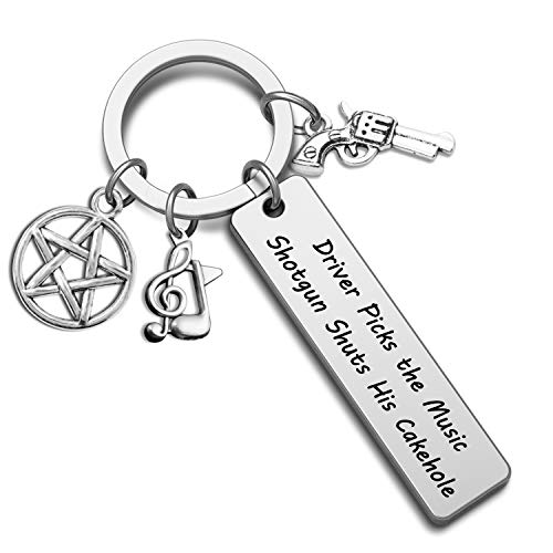 G-Ahora Supernatural TV Show Keychain Driver Picks The Music Shuts His Cakehole Funny Gift for Supernatural Fans