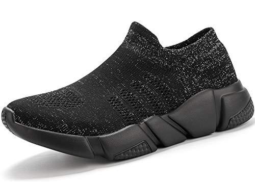 Elaphurus Damen Leichte Turnschuhe Slip-on Walking Schuhe Socks Schuhe Mode Sneaker Herren Hallenschuhe Kinder Sneaker, 5 Schwarz, 41 EU
