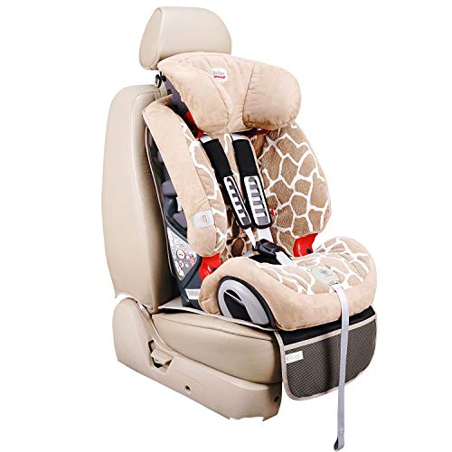 Viaviat Car Seat Protector Leather Waterproof Child Safety Seat Protector Cover with Thick Pad and 2 Large Pockets Durable Kick Mat for All Auto Seat (Beige)