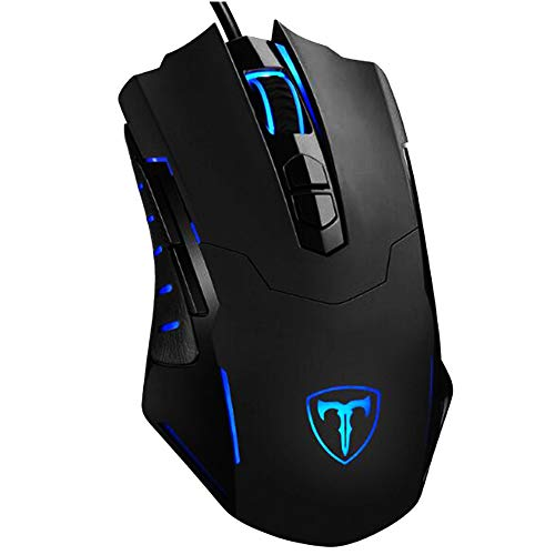 MADX Gaming mouse [7200 DPI and 7 programmable buttons] Comfortable full-size mouse and customizable color, DPI-plug and play, suitable for Windows PC gamers-black-black
