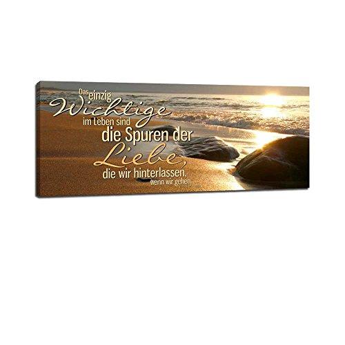 Dalinda® XXL-Wandbild Leinwandbild mit Spruch Spuren der Liebe... 100x40cm Keilrahmenbild Kunstdruck Wandbild Panorama Leinwandbild LS101