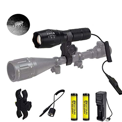 IR 850nm LED Torch IR Illuminator Light Night Vision Infrared Hunting Flashlight Zoomable IR Torch with Scope Mount Pressure Switch for Coyote Hog Predator Hunting Battery and Charger Include