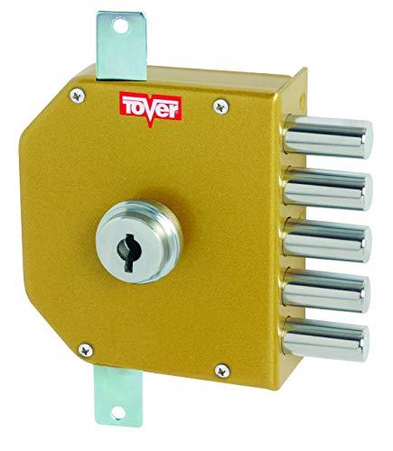 Tover 8000P, Cerradura seguridad 3P c/barras cierre interior T2 c/llave dcha. esm.oro