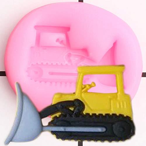 UNIYA Moldes de Silicona Bulldozer para Cupcakes de Coche, Molde para Fondant, Herramientas de decoración de Pasteles de cumpleaños para niños,moldes deChocolate y Dulces