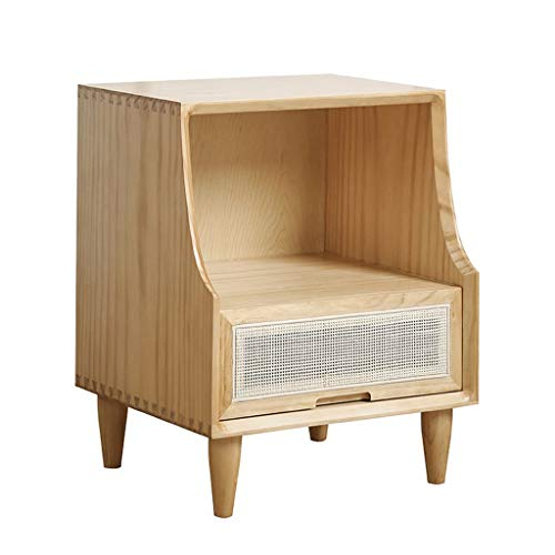 XIAOQIU Nightstand Nordic Solid Wood Bedside Table Simple Modern Nightstand With Drawer Creative Rattan Storage Cabinet Sofa Side Table Bedside Cabinet (Color : B)