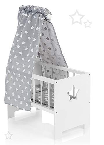 Puppenbett mit Himmel Sternchen aus Holz Holzbett Stern Bett Himmelbett (Weiß-Grau)