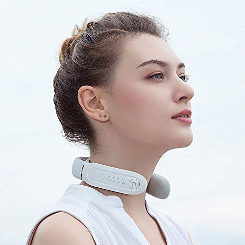 SKG Smart Neck Massager with Heating Function, Wireless Rechargeable Portable Neck Massage Equipment (Silicon White)