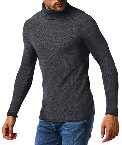 Leif Nelson Pull chaud en tricot pour homme - Col roulé - Pull d'hiver - Slim fit - Manches longues - Col roulé - Col roulé - LN2010 - Gris - XX-Large
