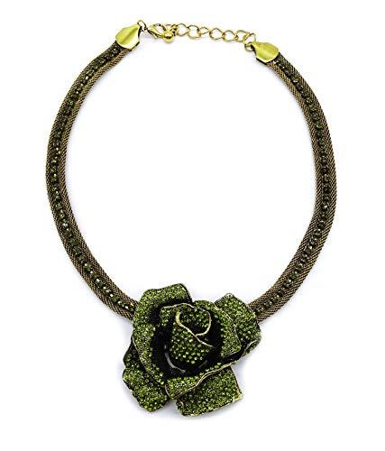 onweerstaanbaar1 oude rozenbloemenketting in oud goud op een 42,5 cm lange oude gouden metalen ketting + 7 cm lange verlenging met groene Oostenrijkse kristallen in groen