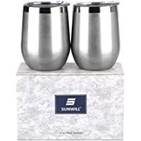 2-Pack SUNWILL Double Wall Stainless Steel Insulated Wine Tumbler