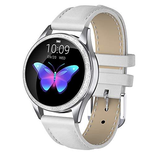 LUNIQUESHOP ROUNDV2 Brillante,Montre connectée Femme étanche IP68, smartwatch, Cardio, podomètre, Compatible iOS et Android, (Argent/Cuir Blanc)