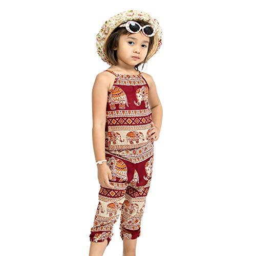 Lofbaz 2 Piezas Mono Harem Para Niños Niñas Pequeñas Camisa y Pantalones Boho Trajes Ropa de Mameluco Para Niña Verano Elefante 14 Borgoña 5-6Y